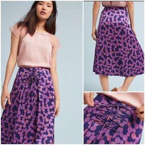 Anthroplogie Maeve Zadie Lace-Up Skirt Plum NWT 0